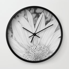 """""""Sunrise Sunflower"""" - Black and White Pencil Drawing Wall Clock"""