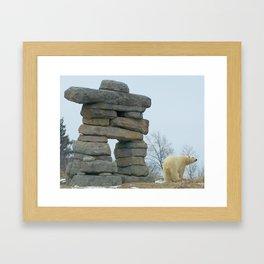 Polar Bear and Inukshuk in Winter Framed Art Print