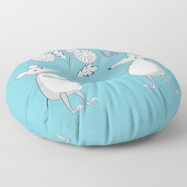 two enamored mouses Floor Pillow