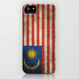 Old and Worn Distressed Vintage Flag of Malaysia iPhone Case