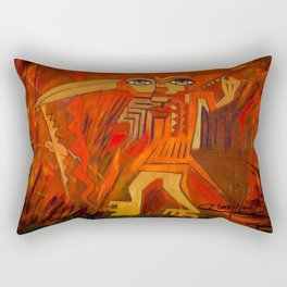 Indigenous Inca Ceremonial Shaman and Firebird portrait painting by Ortega Maila Rectangular Pillow