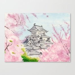 Himeji Castle , Art Watercolor Painting print by Suisai Genki , cherry blossom , Japanese Castle Canvas Print