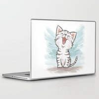 cat coquillette Laptop & iPad Skins featuring Cat by Toru Sanogawa