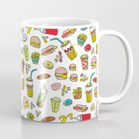 junk food Mugs featuring Awesome retro junk food icons by Little Smilemakers Studio