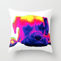 boxer Throw Pillows featuring Boxer by Ty McKie Creations