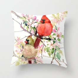 Cardinal Birds and Spring, cardinal bird design Throw Pillow