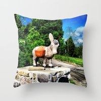 donkey Throw Pillows featuring Donkey by CleanSlate