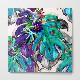 Tropical Leaves Pattern With Exotic Flowers Print.Fresh Colourful Summer Print. Metal Print