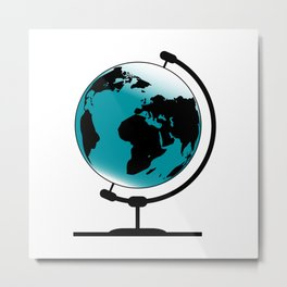 Mounted Globe On Rotating Swivel Metal Print
