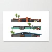 mid century modern Canvas Prints featuring Original Mid Century Modern Houses by MidPark Prints