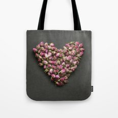 Rose Bud Heart Tote Bag