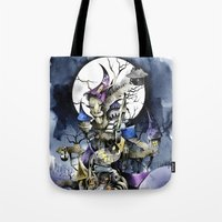 nightmare before christmas Tote Bags featuring The nightmare before christmas by Sandra Ink