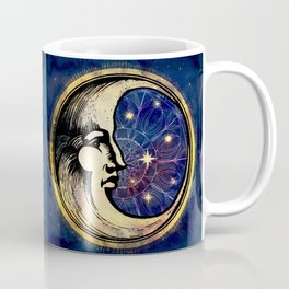Celestial Antique Man In The Moon Watercolor Batik Coffee Mug