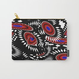 Flower Frenzy in Red and Blue Carry-All Pouch