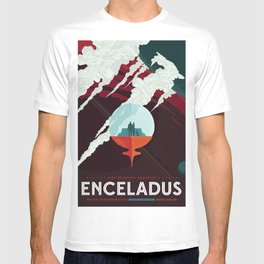 NASA Retro Space Travel Poster #3 - Enceladus T-shirt
