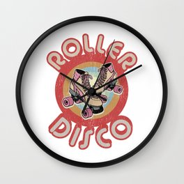 Roller Derby Roller Skates - Red & Pink Retro Wall Clock