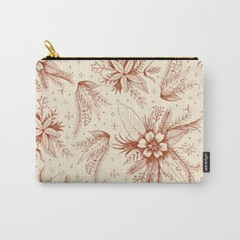 red sketchy floral pattern Carry-All Pouch