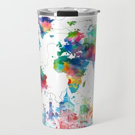 world map watercolor collage Travel Mug