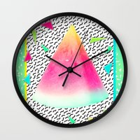 watermelon Wall Clocks featuring Watermelon by Danny Ivan