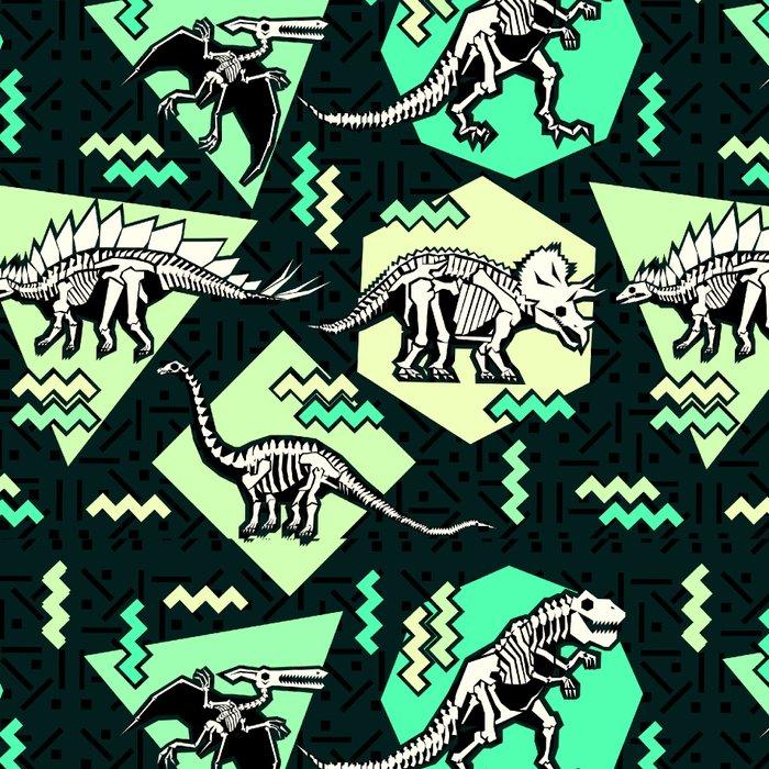 90's Dinosaur Skeleton Neon Pattern Leggings
