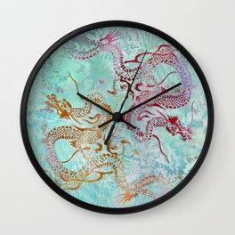 Peony Dragons Chinoiserie Chic Antique Stencil Art - Aqua Wall Clock