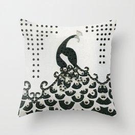Peacock in Black Throw Pillow