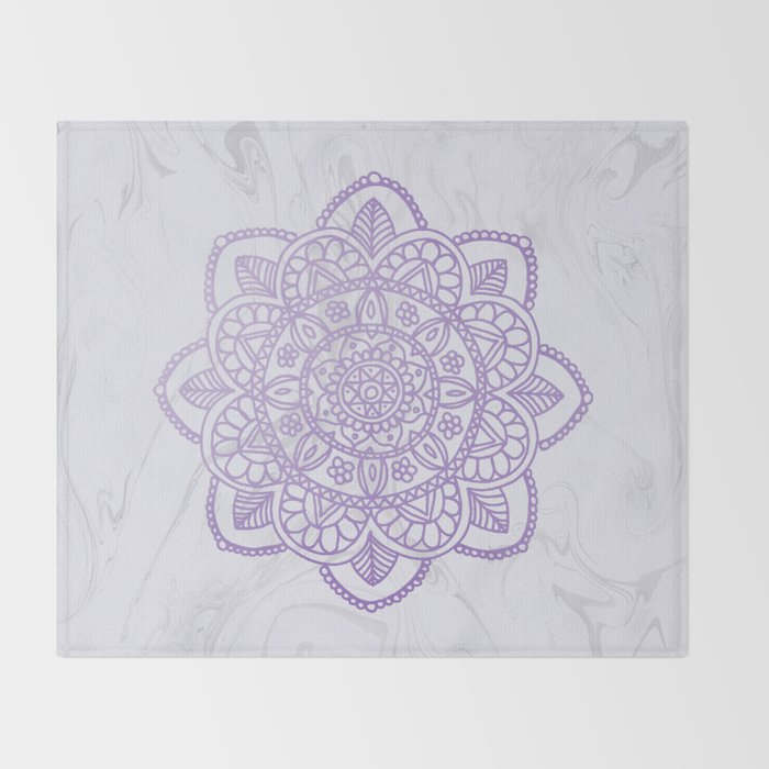 Lavender Mandala on White Marble Throw Blanket