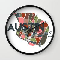austin Wall Clocks featuring Austin Texas + by Studio Tesouro