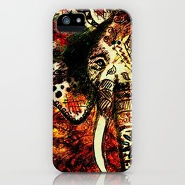 Patterned Sketched Elephant iPhone Case