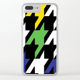 Jumbo Scale Masculine Colored Houndstooth Pattern Clear iPhone Case