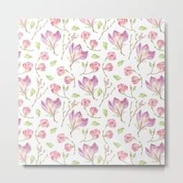 Pink lilac watercolor hand painted magnolia pattern Metal Print