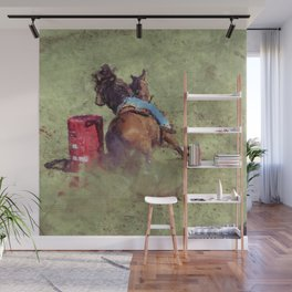 The Barrel Racer - Rodeo Horse and Rider Wall Mural