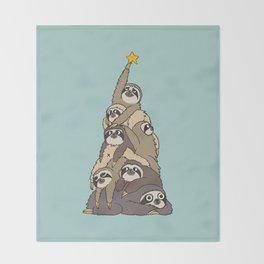 Christmas Tree  Sloths Throw Blanket