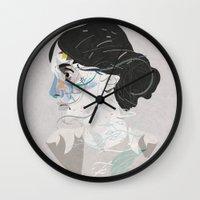 virginia Wall Clocks featuring Virginia Woolf by Zaneta Antosik