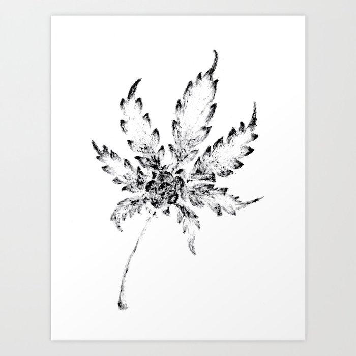 Black white cannabis resin leaf art print