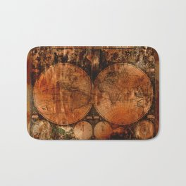 Rustic Old World Map Bath Mat