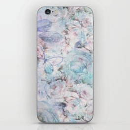 Shabby vintage pastel pink teal floral butterfly typography iPhone Skin