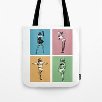 burlesque Tote Bags featuring Burlesque Wars by V-GRAFIX