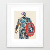 superheros Framed Art Prints featuring modern capt america by bri.buckley