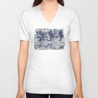 blueprint V-neck T-shirts featuring Vigilante Blueprint by Matthew Dunn