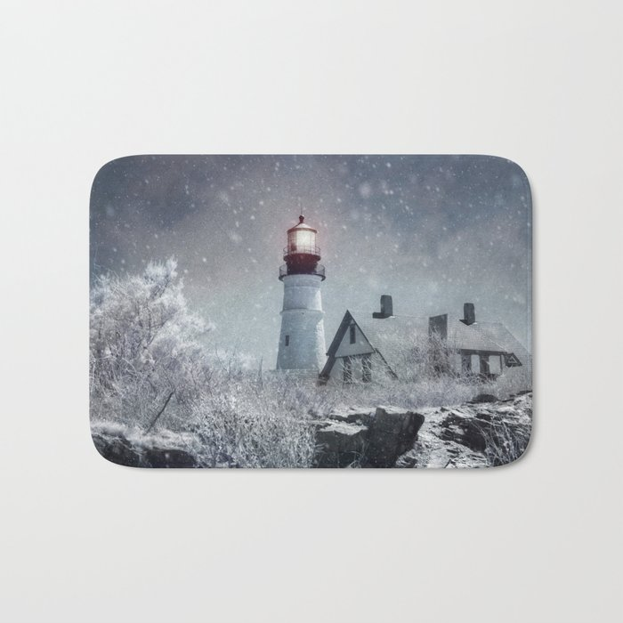 superior Lighthouse Bath Mats Part - 2: New England Winter Lighthouse Bath Mat