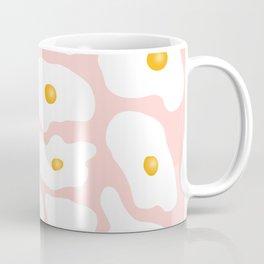 Funny trendy hand drawn fried eggs pattern pink pastel Coffee Mug