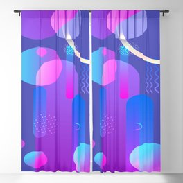 Purple Galaxy Type Abstract Design Blackout Curtain