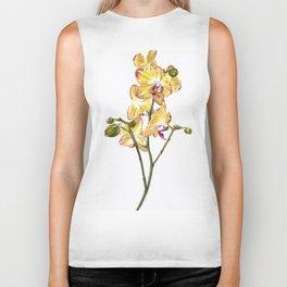 Yellow Phalaenopsis Orchid Traditional Artwork Biker Tank