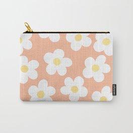 Peach 70's Retro Flower Power Carry-All Pouch