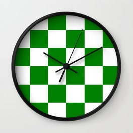 Large Checkered - White and Green Wall Clock