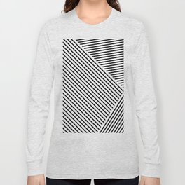 Black and White Lines Hatching Pattern Long Sleeve T-shirt