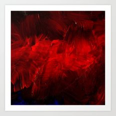 Red And Black Abstract Gothic Glam Chic Art Print
