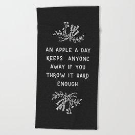 An Apple A Day BW Beach Towel