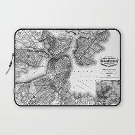 Vintage Map of Boston Massachusetts (1871) BW Laptop Sleeve